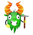 crazy green monster holding a hammer on white vector image
