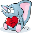 Cute elephant hold red heart vector image