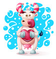 cute funny pretty cow characters with heart vector image vector image