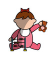 cute girl baby with toys avatar character vector image