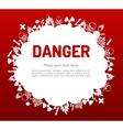 Danger sign set in cloud banner vector image vector image