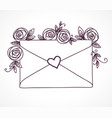 envelope sealed with heart with roses flowers vector image vector image
