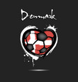 flag of denmark in the form of a heart vector image vector image