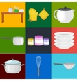 food and cooking banner set with kitchenware vector image vector image