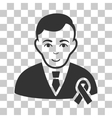 Gentleman With Mourning Ribbon Icon vector image vector image