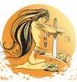 girl amazon with long hair vector image