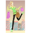 Girl running shopping vector image vector image