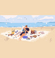 happy couple hugging on picnic blanket at seaside vector image vector image