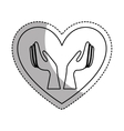 heart with hands human icon vector image vector image