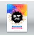 Holi festival poster Template for flyer brochure vector image