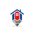 house realty pencil draw architecture logo vector image