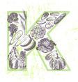 ink hand drawn fruits and vegetables vitamin k vector image