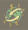 international currency money transfers vector image