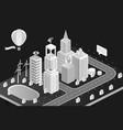 isometric city black vector image