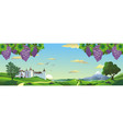 landscape panorama with bunches of grapes and an vector image vector image