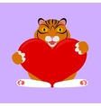 little tiger with red heart vector image