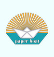 logo is a paper boat in the sun vector image vector image