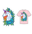 magical cute unicorn cartoon fantasy vector image