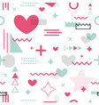 memphis seamless pattern valentines day vector image vector image