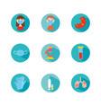 mouth mask and coronavirus icon set block style vector image vector image