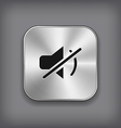 Mute icon - metal app button vector image vector image