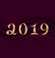 new year 2019 color flow numbers pink background vector image