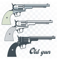 old guns set in vintage style vector image vector image