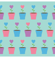 Pink heart flower in pot Seamless Pattern Wrapping vector image