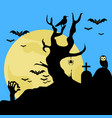 scary halloween cemetery background vector image vector image