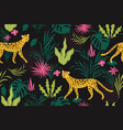 seamless pattern witn leopards on a black backgrou vector image vector image