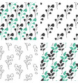 seamless patterns with green and black florals vector image vector image