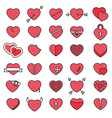 set 30 simple icons hearts for valentines day vector image vector image
