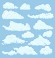 set cartoon cloud on blue background vector image vector image