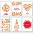 set christmas cards with gingerbread cookies vector image