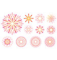 set of festive colored fireworks isolated on white vector image vector image