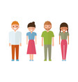 set of style young people in cartoon style vector image