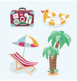 summer beach set of icons vector image vector image