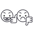 thumbs up down emoji concept line editable vector image