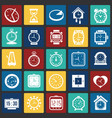 time icons set on color squares background for vector image
