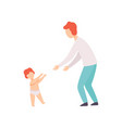 toddler baby taking first steps to his father vector image vector image