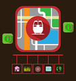 Travel by Electric Train GPS Navigation Map vector image