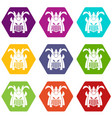 Tribal helmet icon set color hexahedron vector image