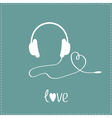 White headphones and cord in shape of heart vector image vector image