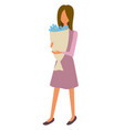 woman with bouquet flowers isolated character vector image vector image