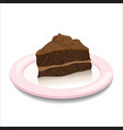 a piece of chocolate pie on the plate vector image