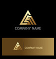 abstract triangle gold technology logo vector image vector image