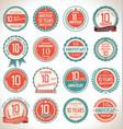 anniversary retro badges 10 years vector image vector image