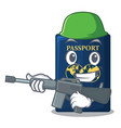 army blue passport in the cartoon form vector image vector image