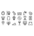 basketball equipment icons set outline style vector image