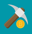 bitcoin mining concept with pickaxe and coin flat vector image